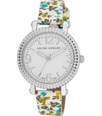 laura ashley women's blue floral band fluted bezel watch