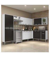 cozinha completa com armário e balcáo com tampo 8 peças xangai soul multimóveis branca/preta
