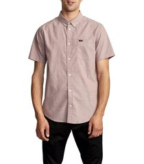 men's rvca that'll do solid short sleeve button-down shirt, size xx-large - red