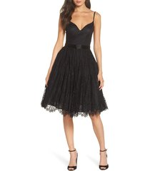 women's mac duggal lace fit & flare cocktail dress, size 2 - black