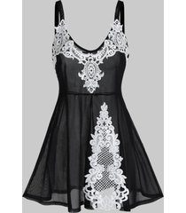 plus size contrast lace sheer mesh babydoll set