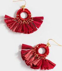 poppy raffia tassel drop earrings - burgundy