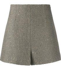 sandro paris high waisted wool shorts - neutrals