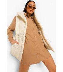 oversized blouse jurk met gerafelde zoom, stone