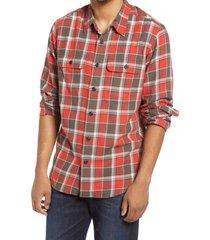 men's filson scout plaid sport shirt, size large - red