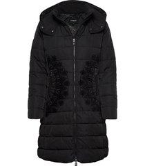 padded mandala gevoerde lange jas zwart desigual