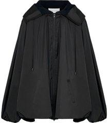 fenty draped taffeta hoodie - black