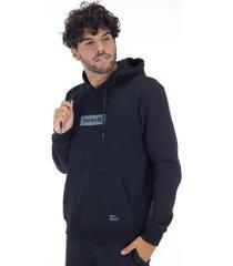 blusão de moletom com capuz hurley canguru inbox - masculino - preto