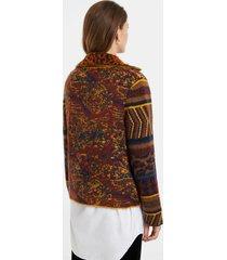 boho knit jacket - brown - xl