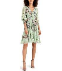taylor petite ruffled faux-wrap dress