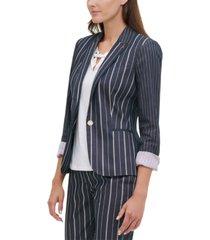 tommy hilfiger striped one-button blazer