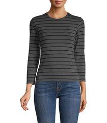 atm anthony thomas melillo women's striped stretch-cotton top - asphalt - size xs
