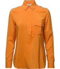 wilkie seersucker overhemd met lange mouwen oranje ganni