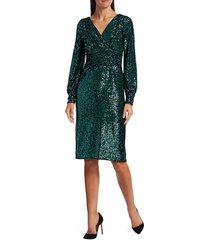 teri jon women's blouson sleeve sequin sheath dress - teal - size 4