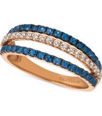 le vian blueberry sapphire (1/2 ct. t.w.) & diamond (1/4 ct. t.w.) triple row ring in 14k rose gold