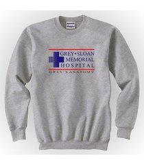 grey + sloan memorial hospital greys anatomy crewneck sweatshirt grey