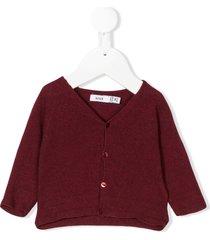 knot raglan sleeve basic cardigan - red