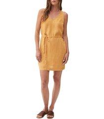 women's michael stars glenda v-neck linen shift dress, size x-small - brown