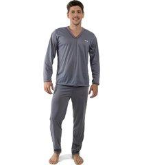 pijama linha noite longo cinza escuro
