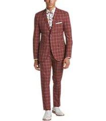 paisley & gray slim fit suit separates coat rust windowpane