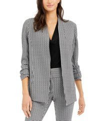 alfani ruched-sleeve gingham blazer, created for macy's