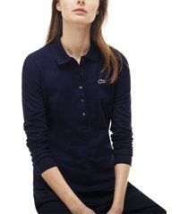 lacoste long-sleeve slim-fit stretch pique polo shirt