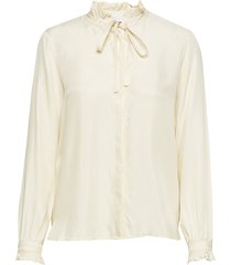 shirt w. ruffle and bow blus långärmad creme coster copenhagen