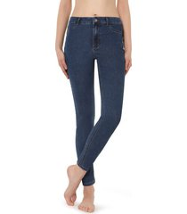calzedonia push-up and soft touch jeans woman blue size xl
