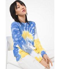 mk pullover in cotone supima con motivo tie-dye - zafferano (giallo) - michael kors