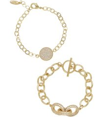 ettika mixed crystal disc link chain women's bracelet set