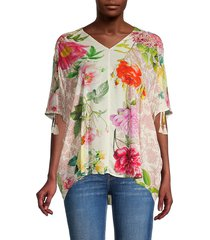 johnny was women's botanical-print elbow-sleeve top - size xs