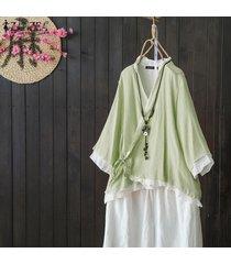 zanzea s-5xl mujeres asimétrica volantes hem tapas de la camisa del cuello de v casaul remata la blusa étnico -verde