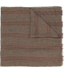 brunello cucinelli striped lightweight scarf - brown