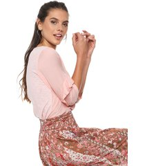 blusa rosa ted bodin voile