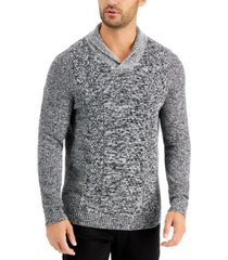 tasso elba men's chunky marbled shawl sweater, created for macy's