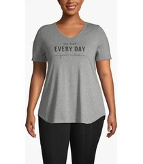 lane bryant women's active strappy-back graphic tee 22/24 heather gray