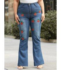 pantalones de diseño de botones con diseño de bolsillo con estampado floral de talla grande