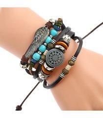 braccialetto a multistrati in cuoio intrecciato