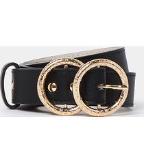 river island womens black ri double ring buckle belt