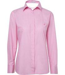camisa dudalina manga longa tricoline fio tinto detalhe costas feminina (rosa claro, 42)