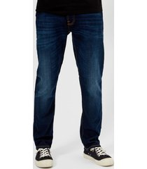 nudie jeans men's dude dan straight jeans - dark deep worn - w36/l34 - blue