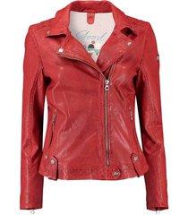 leren biker jas rood