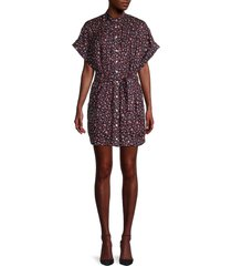 frame women's floral button-front dress - navy - size xs