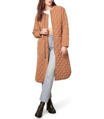 bb dakota by steve madden bb dakota for speed quilted coat, size small in dark camel at nordstrom