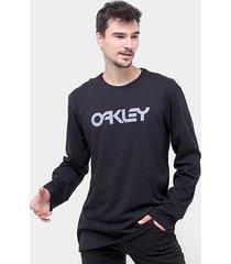 camiseta oakley mark ii ls manga longa masculina - masculino