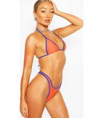 neon contrast trim bikini, orange