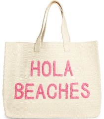 btb los angeles hola beaches straw tote in natural/fushia at nordstrom