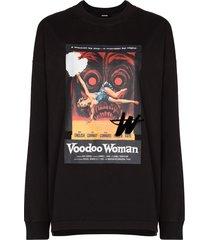 we11done graphic voodoo woman print sweatshirt - black