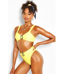 buckle high waist bikini, yellow