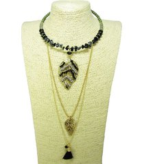 collar metalico negro hojas alamoda acl 12759